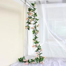 63 Inch Rose Garland Artificial Rose Vine with Green Leaves