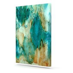"""KESS InHouse Rosie Brown """"Waterfall"""" Teal Blue Canvas Art, 2"""