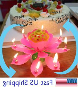 ROTATING Lotus Candle Birthday Flower Musical Floral Cake Ca
