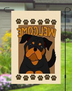 Rottweiler Welcome Dog Garden Banner Flag 11x14 to 12x18 Yar