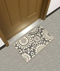 """Rubber Backed Mat 18"""" x 32"""" Floral Swirl Medallion Grey & Iv"""