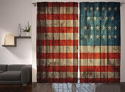 Ambesonne Rustic American USA Flag Curtains, Fourth of July
