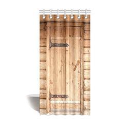 InterestPrint Rustic Style Barn Wood Door Shower Curtain Dec