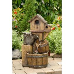 Rustic Bird House Outdoor Water Fountain Yard Garden Decor