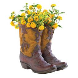 NEW RUSTIC COWBOY BOOT PLANTER FLOWER POT WESTERN GARDEN YAR