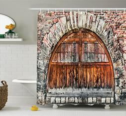 Rustic Decor Shower Curtain Set by Ambesonne, Photograph of