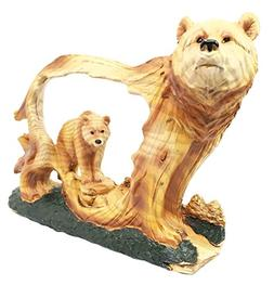 Nature Rustic Faux Wood Wildlife Grizzly Bear With Cub Roami