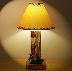 Rustic Lodge/Cabin Style Lamp...A Bear and a Moose Canoeing