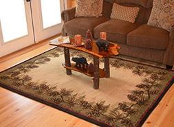 Rustic Lodge Pine Cone Border Brown, 2'2x3'3