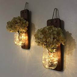 Tennessee Wicks Rustic Mason Jar Wall Sconce Set of Two, Com