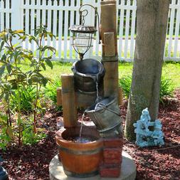 Sunnydaze Rustic Pouring Buckets Outdoor Water Fountain & So