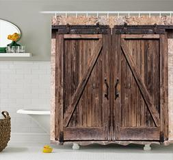 Ambesonne Rustic Shower Curtain, Wooden Barn Door in Stone F