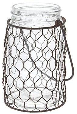"""Park Hill 5.5"""" x 3.5"""" Rustic Wire Wrapped Glass Jar Candle L"""
