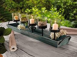 27.5 in. Rustic Wood Candle Centerpiece Tray w/ Five Metal C
