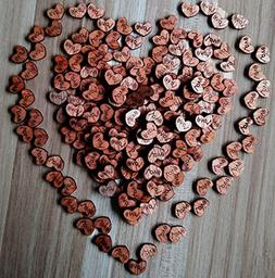 200pcs Rustic Wooden Love Heart Wedding Table Scatter Decora