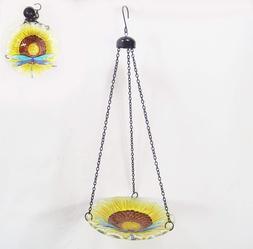 SALE Bird Bath-Feeder Hanging Glass Sunflower and Dragonfly