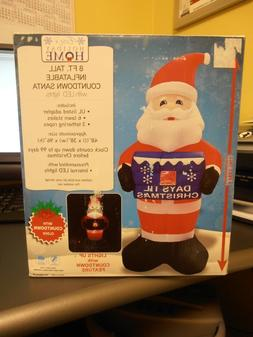 Santa Christmas Countdown Inflatable 8 Feet Tall - Count Dow