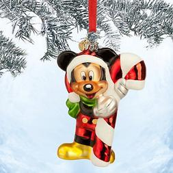 Santa Mickey Mouse Glass Sketchbook Ornament