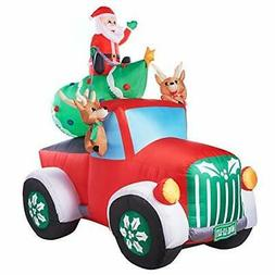 Holiday Time Santa Truck Retro Truck with Reindeer, Airblown