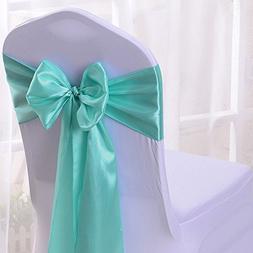 50PCS 17X275CM Satin Chair Bow Sash Wedding Reception Banque