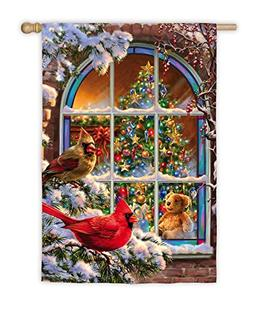 Evergreen Satin Christmas Window House Flag, 29 x 43 inches