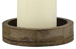 Stonebriar SB-4985A Rustic Wood & Metal Candle Plate Fitsup