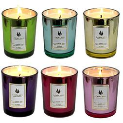 Set of 6 Scented Candles 100% Soy Wax Glass, Home Fragrance