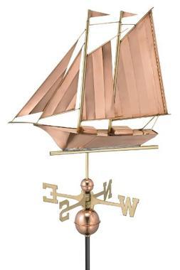 Good Directions 9601P Schooner Weathervane, Polished Copper