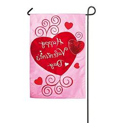 Gifted Living Scroll Applique Valentine Hearts Garden Flag,