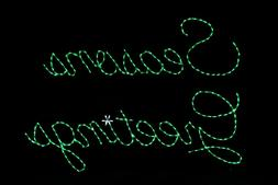 Seasons Greetings Sign LED light display metal wireframe out