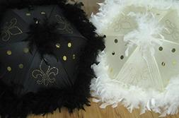 Second Line Fleur de Lis Wedding Umbrellas Cream Ivory Black
