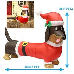 LED Self Inflatable Christmas Dachsund Blow up yard, 5FT