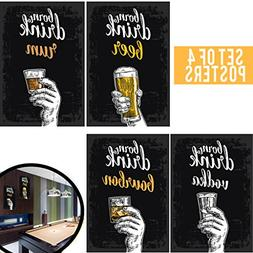 Set of Four 11x17 College Posters; Great Living Room Bar Ide