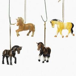 Set of Four Resin Horse Ornaments Christmas Tree Holiday Wes
