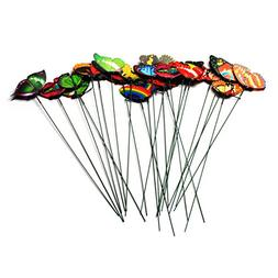 24 Pcs Set Garden Ornament Colorful Butterfly Yard Stake Law