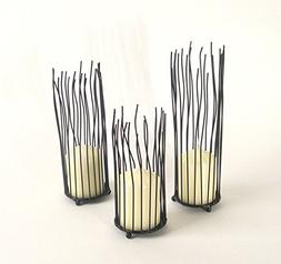 3 Piece Set of Nature Inspired Organic Willow Iron Candlehol
