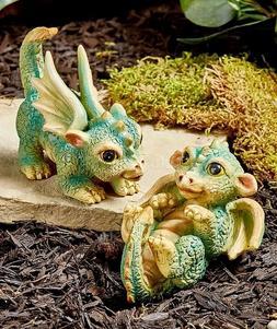 Set Of 2 Baby Dragons Fairytale Garden Statues Yard Lawn Art
