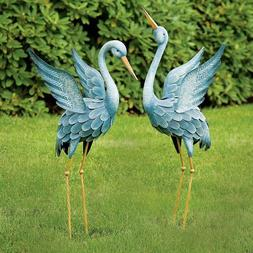 SET OF 2 BLUE HERON STATUES Patio Garden Yard DECOR TEXTURED