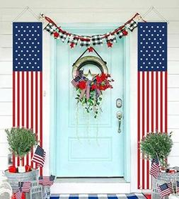 Set of 2 Patriotic American Flag Banners Vertical Bunting Ya