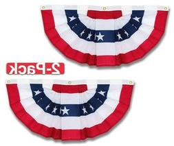 Set of 2 Patriotic Stars Stripes Flag Bunting Banners Outdoo