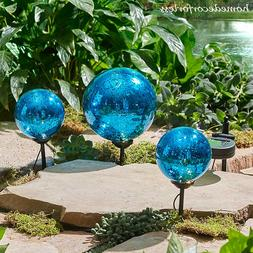 Set of 3 BLUE Solar Accent Gazing Ball Stakes Garden Yard Pa