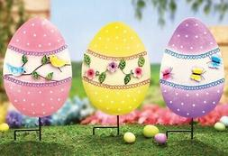 Set of 3 Easter Egg Garden Stake Statues Outdoor Spring Flow