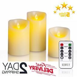 Set Of 3 Luminara Flameless Pillar Ivory Candle Moving Wick