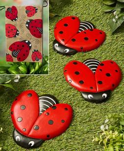 Set of 3 Ladybug Stepping Stones &/or Burlap Flag Garden Yar