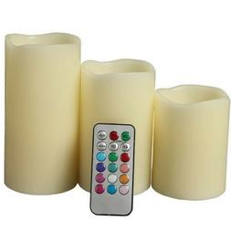 Set of 3 LED Color Changing Flameless Ivory Candles With Rem