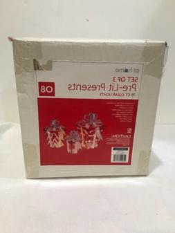 Set of 3 Lighted red & silver Gift Boxes Presents Outdoor Ch