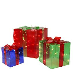 Northlight Set of 3 Lighted Red, Green and Blue Gift Box Chr