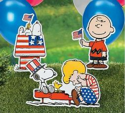Set of 3 Patriotic Peanuts Snoopy Yard Sign Stakes Outdoor