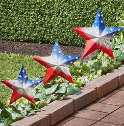 Set of 3 Patriotic Stars Metal Yard Stakes Outdoor Statue 4t