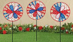 Set of 3 Patriotic Wind Spinner Stake Set 4th of July Garden